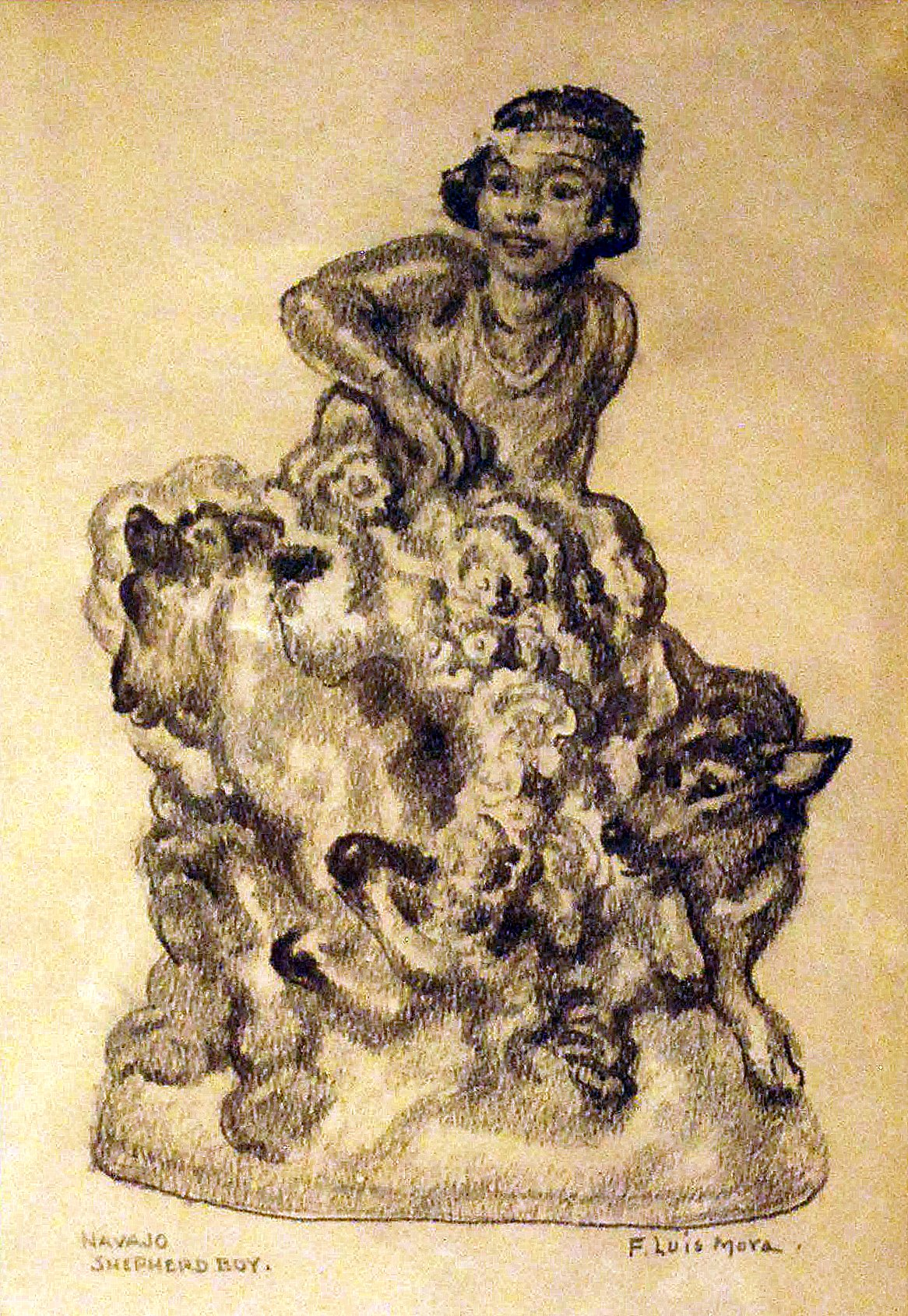 Navajo Shepherd Boy, Study for Cowan Pottery